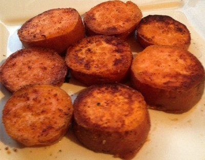 "These sweet potatoes were ""fried"" with coconut oil, garlic powder and a dash of sea salt...and came out delicious!"
