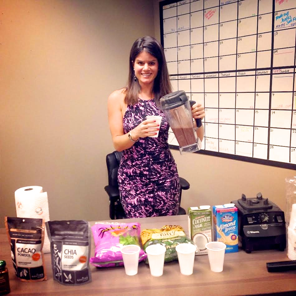 Doing a superfood smoothie demonstration for a corporate wellness event!
